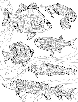 Different ocean fishes swimming against the currents colorless line drawing community of fish
