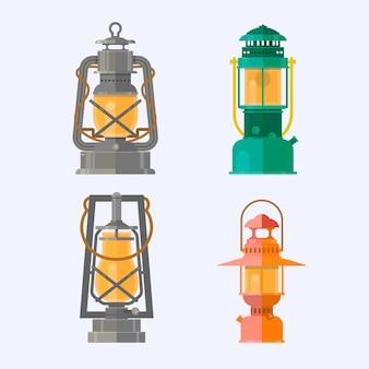 Различные коллекции масляных ламп. ретро газовые лампы со светящимися огненными фитилем. старинный кемпинг фонарь, изолированных на белом фоне.