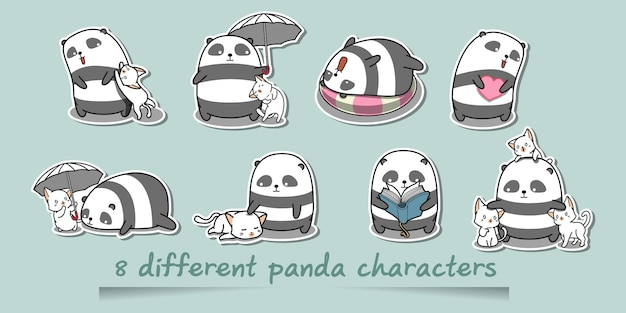 Different panda characters.