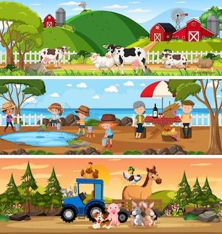 漫画のキャラクターで設定されたさまざまなパノラマの自然の風景