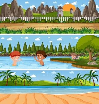 Различные панорамные природные пейзажи с мультипликационным персонажем