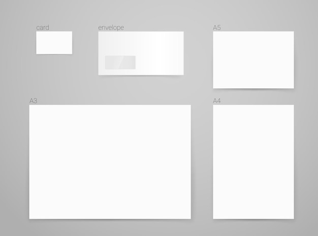 Different paper formats for branding. vector mockup