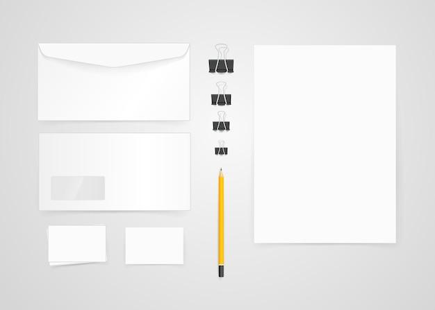 Различные бумажные объекты для брендинга. векторный макет. шаблон удостоверения