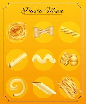 Different pasta noodle on the menu