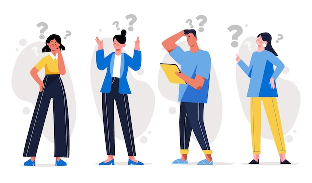 Different people asking questions Free Vector