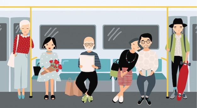 지하철에서 다른 사람들. 지 하 기차에서 유행 젊은 여자와 남자. 만화 스타일의 가로 화려한 그림입니다.
