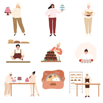 Different people baking and cooking in kitchen vector illustration