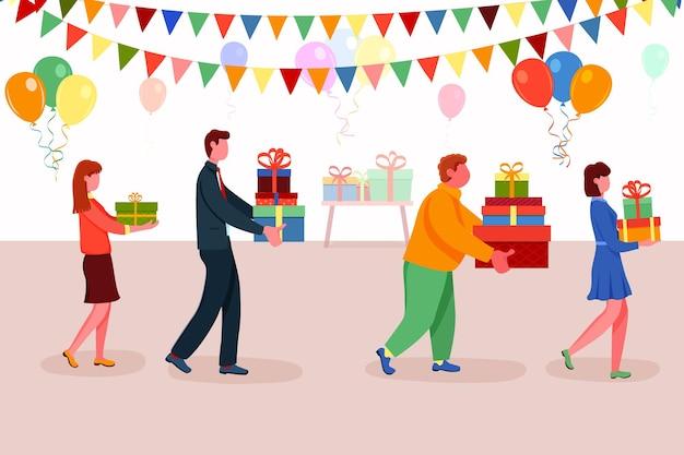 プレゼント用のサプライズギフトボックスを運ぶさまざまな人々。装飾された背景ベクトルイラストの上を歩く記念パーティーや誕生日イベントで準備された挨拶を与える男性と女性