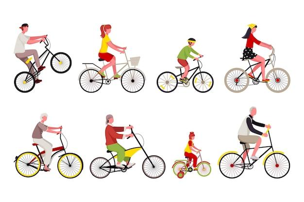 自転車の健康的な輸送に乗るさまざまな人々のキャラクター。若い男と女、老人、子供サイクリスト、スポーツマンのバイカーのセットは、白い背景で隔離のスピードバイクベクトルイラストをお楽しみください