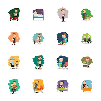 Different people characters icons set