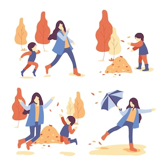 Different people and family spending quality time vector concept: group of family walking together at the autumn park happily