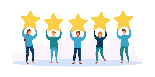Different people give feedback ratings and reviews.characters hold stars above their heads.evaluation of customer reviews.five star rating.customers evaluating a product, service.