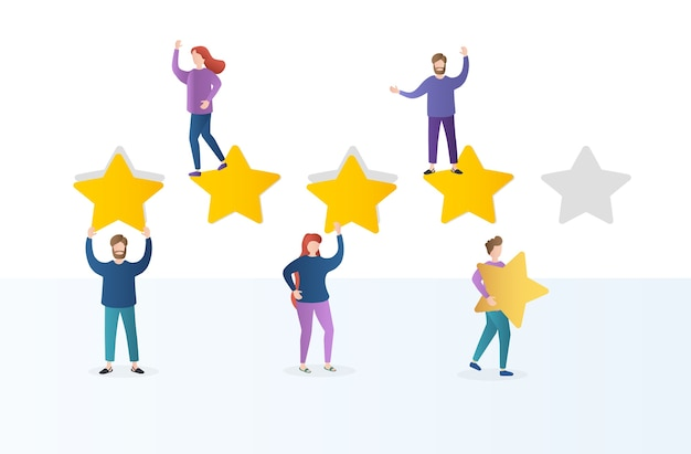 Different people give feedback ratings and reviews. characters hold stars above their heads.