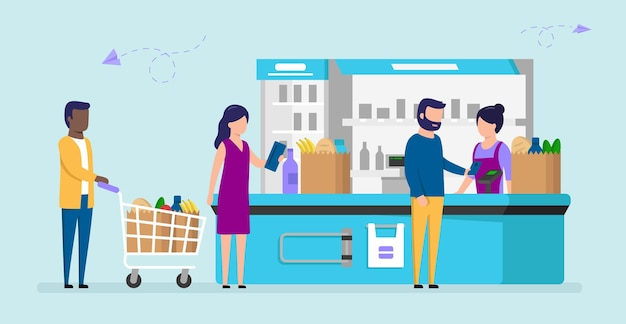 Different people grocery store line at cash counter. male and female supermarket customers buying products, man pays with smartphone, woman holds wallet, another man with cart.