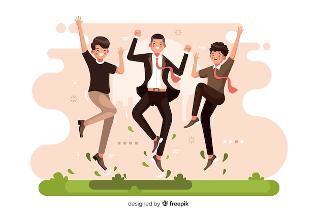 Different people jumping together illustrated