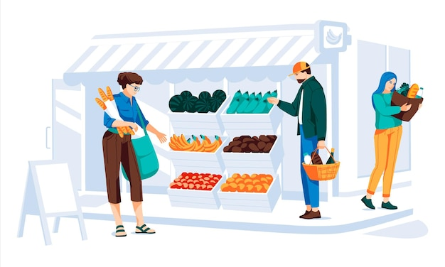Different people making shopping in grocery store front with window and door wooden and brick facad