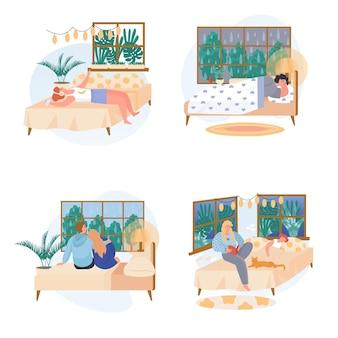 아늑한 침실 개념 장면에서 휴식을 취하는 다른 사람들은 문자의 벡터 그림을 설정합니다.