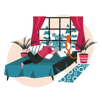 아늑한 침실 장면 개념에서 휴식을 취하는 다른 사람들. 남자는 개와 함께 침대에 누워 눈이 내리는 창 밖을 내다본다. 동물 및 소유자 사람 활동. 평면 디자인에 문자의 벡터 일러스트 레이 션