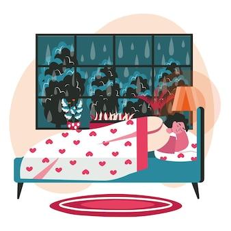 Разные люди расслабляются в концепции сцены уютной спальни. женщина спит в постели, пока идет дождь за окном. отдых и досуг людей. векторная иллюстрация персонажей в плоском дизайне