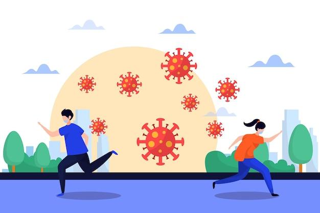 コロナウイルスの粒子から走っているさまざまな人々