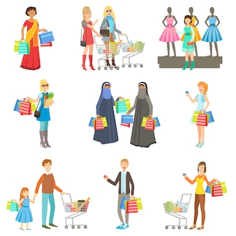 Different people in shopping mall