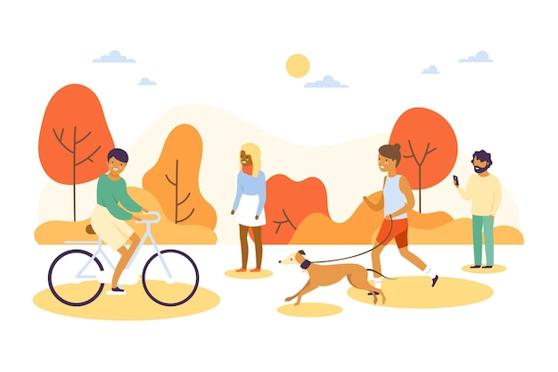 公園を歩いているさまざまな人々