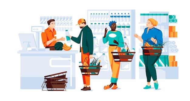 Разные люди с корзинами делают покупки в продуктовом магазине люди возле кассы с
