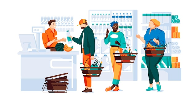 Different people with baskets are shopping at the grocery store people near the cash register with