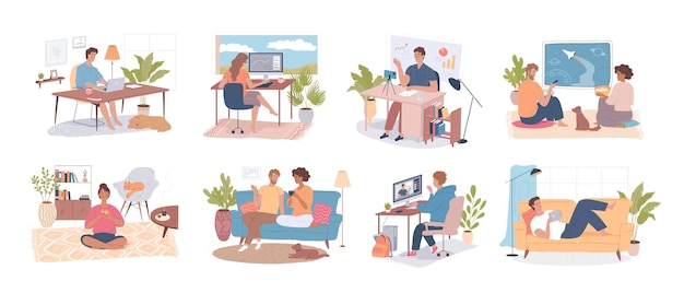 Different people work talk study relax at home cartoon people characters vector illustration set