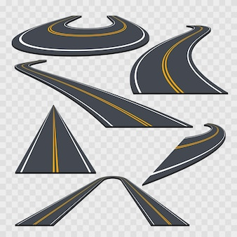 異なる視点のカーブした道路セット