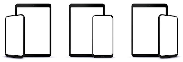 Different perspectives of mobile phone and tablet computer front view illustration