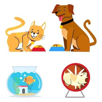 Коллекция разных животных иллюстрированная тема