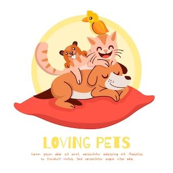 Different pets concept