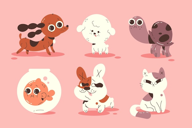 Different pets illustration collection