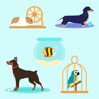 Different pets illustration concept