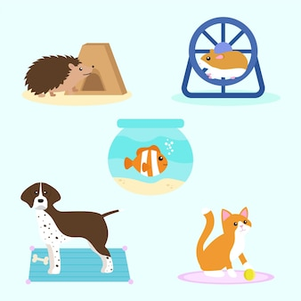 Different pets illustration set