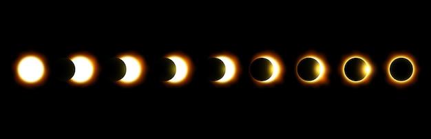 Различные фазы солнечного и лунного затмения Premium векторы