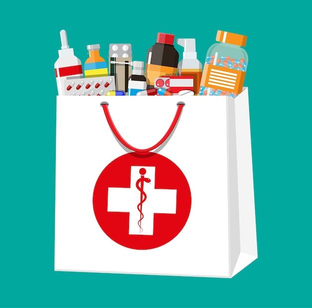 쇼핑백, 의료 및 쇼핑, 약국, 약국에 있는 다양한 약과 병. 질병 및 통증 치료. 의약품, 비타민, 항생제. 평면 스타일의 벡터 일러스트 레이 션