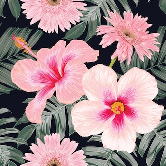 Different pink flowers floral pattern design with green tropical leaves on black background
