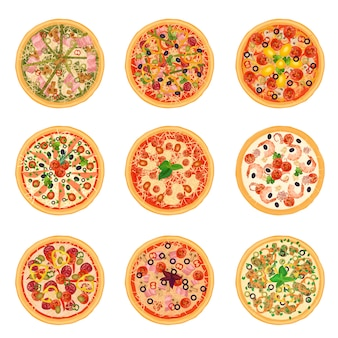 Different pizza set for menu