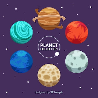 Different planets from solar system set
