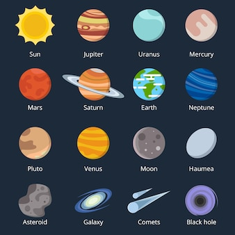Different planets of solar system. illustration of space