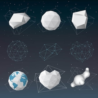 Different polygonal objects 3d