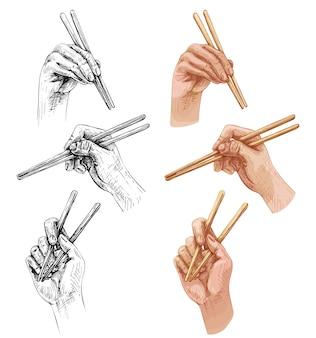 箸を持った女性の手がポーズを変えます。白い背景で隔離のヴィンテージベクトルハッチングカラーイラスト