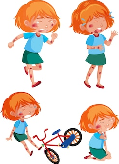Different poses of girl injured from the accident