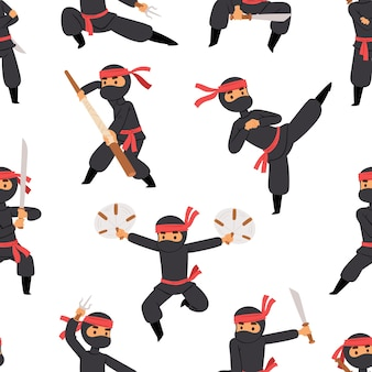 Different poses of ninja fighter in black cloth character warrior sword martial weapon japanese man and karate cartoon person seamless pattern .
