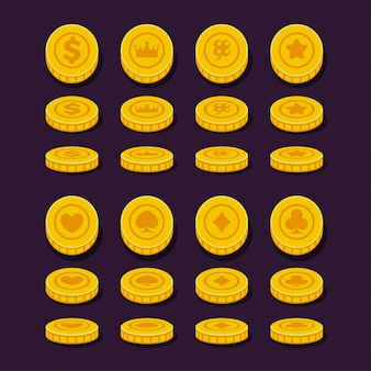 Different position coins set for game, flat design.