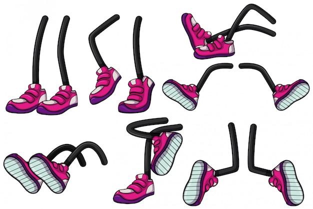 ピンクの靴で脚の異なる位置