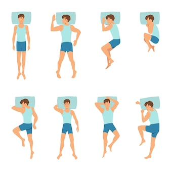 Different positions of sleeping man.