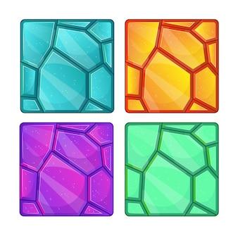 Различные текстуры драгоценных камней для игры. иллюстрации шаржа. Premium векторы